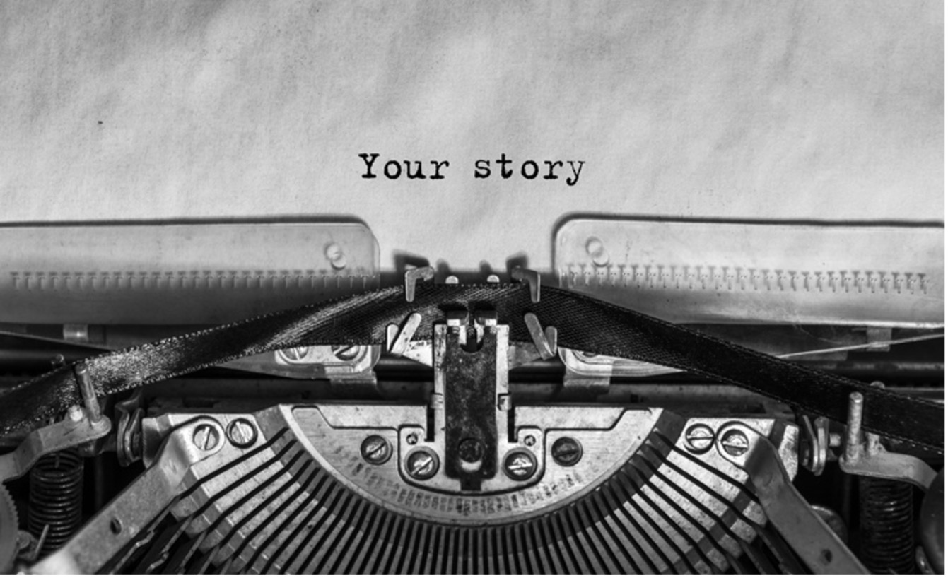 'Your story' written out on typewriter