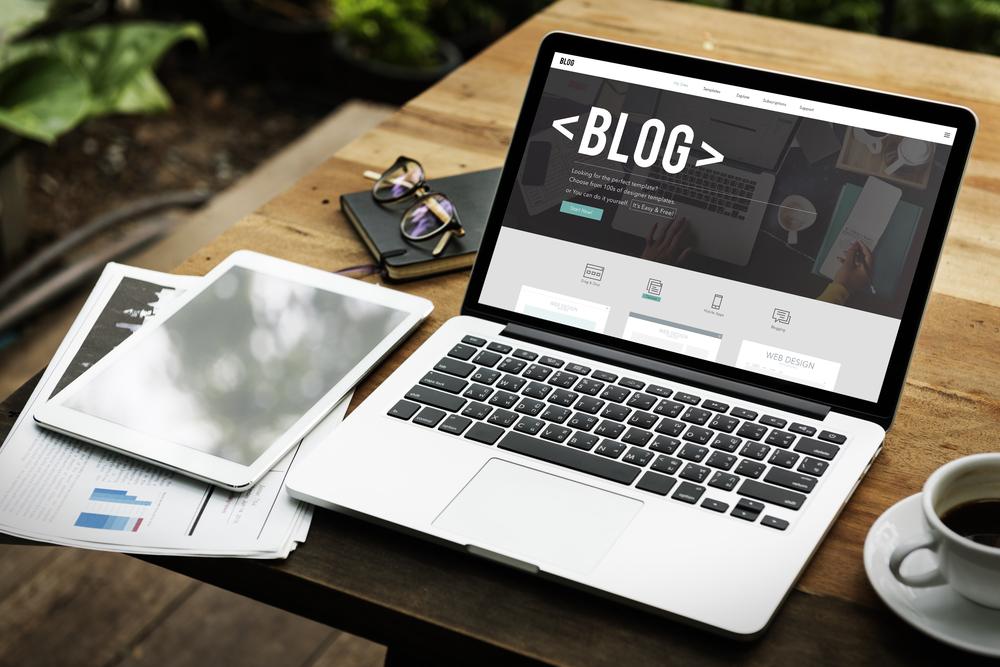 Blog open on a laptop